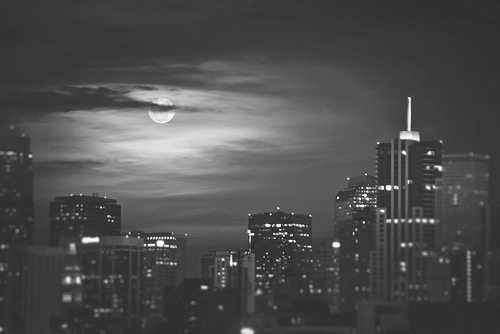 b&w, black and white, building, buildings, city, city light, city lights, cloud, clouds, light, lights, moon, night, night light, night lights, sky, town, urban