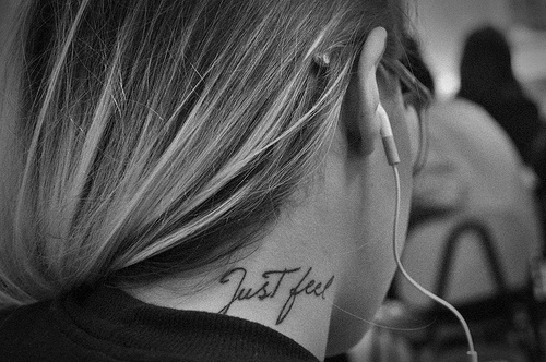 b&w, black and white, fashion, feel, feelings, girl, just, just feel, neck, tatto, want