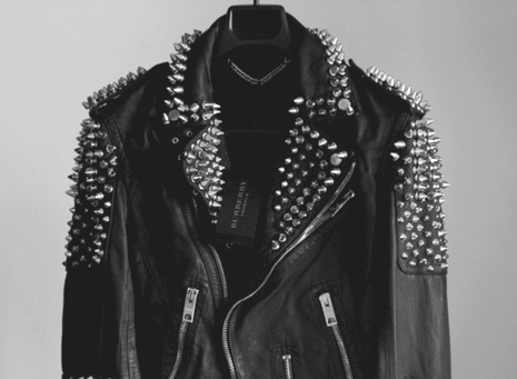 b&w, black and white, fashion, jacket, leather, leather jacket, rivet, rivets, studded, studs