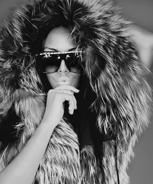 b&w, black and white, fur, girl, hip hop