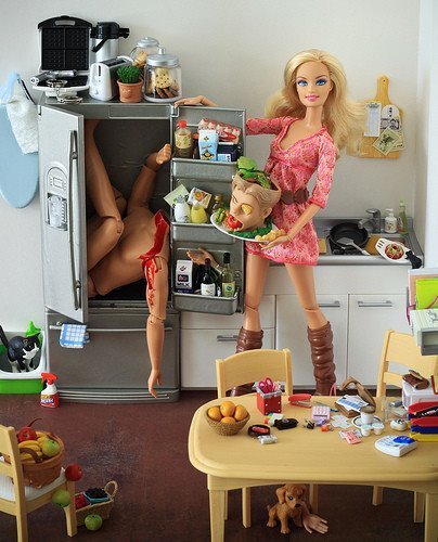 barbie, barbie horror, blood, head, ken, photography