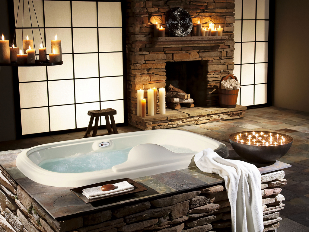 bath, candles, fireplace, interior, stone