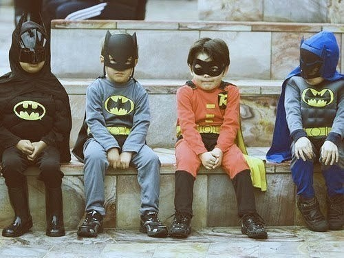 batman, cute, hipster, kid, photo, street, superhero, vintage