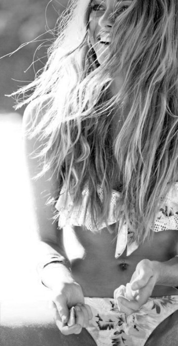 beach, bikini, black and white, blonde, curly hair