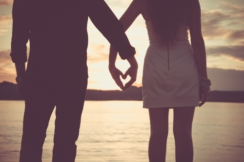 beach, couple, hands, heart, love