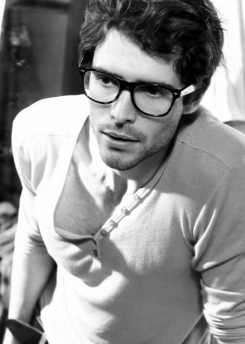 beard, black and white, boy, cute, glasses