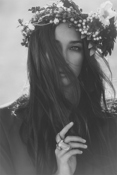 beautiful, beauty, black and white, fashion, flowers