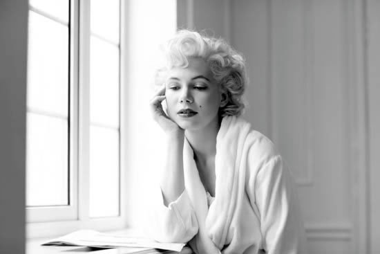beautiful, black and white, blonde, marilyn monroe, michelle williams