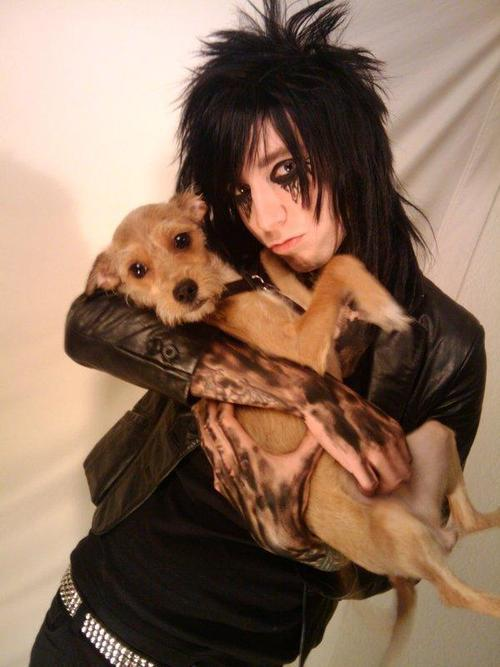beautiful, black, black veil brides, brides, cute, dog, guy, hair, jake pitts, rawr, rock, tattoo, veil