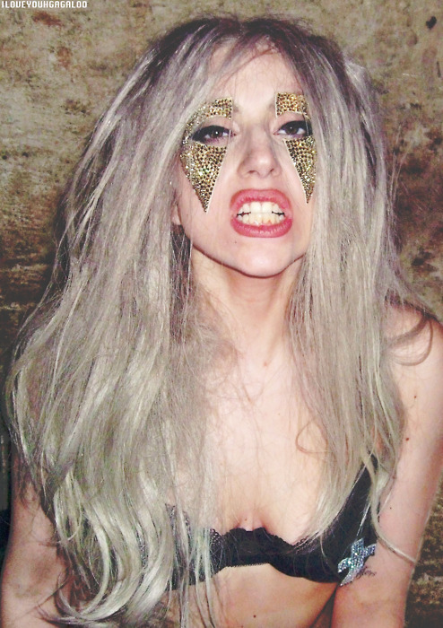 beautiful, blonde, bra, celebrity, fierce, girl, glitter, gold, lady gaga, long hair, music, pretty, sexy, tatto, teeth, woman