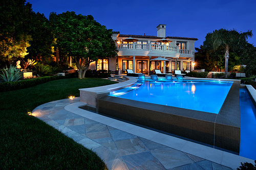 beautiful, blue, cute, glamour, home, house, luxury, night, photo, photograph, photography, pool, water