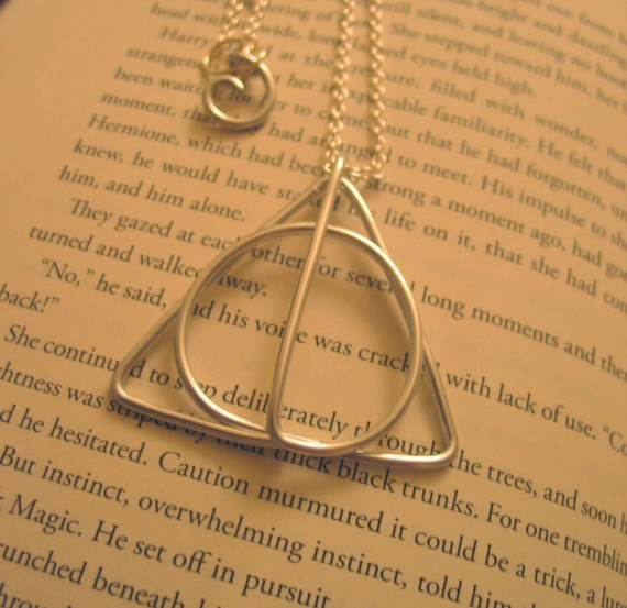 beautiful, book, deathly hallows, harry potter, necklace