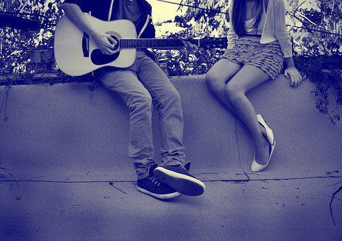 beautiful, boy, dress, girl, guitar
