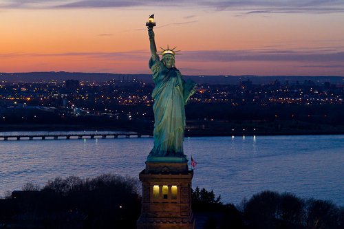 beautiful, clouds, cool, landscape, nature, new york, water, nyc, sky, sun, statue of liberty, new york city