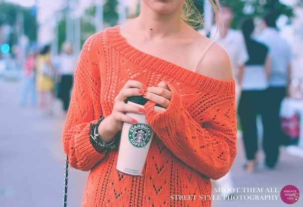 beautiful, coffee, cute, girl, heels, nice, orange, photo, photographer, shoes, starbucks, street, street fashion, sweater, woman