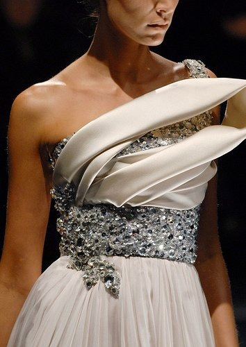 beautiful, crystals, dress, elie saab, fashion, fashion show, girl, haute couture, model