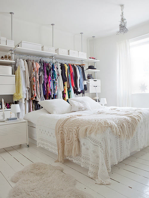 bed, bedroom, blanket, closet, clothes