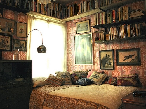 bed, bedroom, book, book shelve, curtains