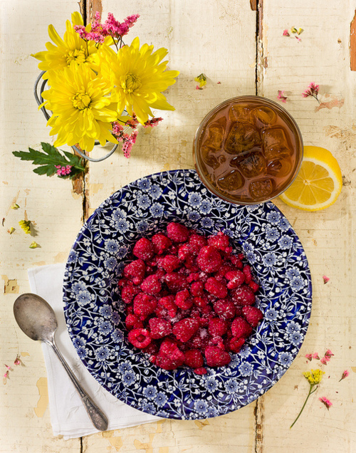 berries, blue, china, china ware, cutler, flowers, iced tea, plate, pretty, red, shabby chic, vintage, yellow