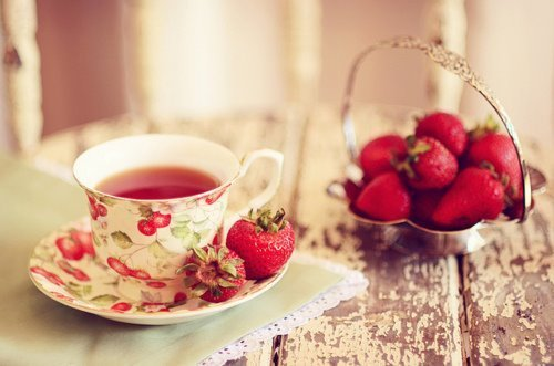 berries, cup, cute, photography, red, strawberries, table, tea