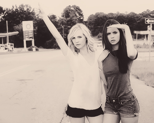 bests, black and white, candice accola, cute, friendship
