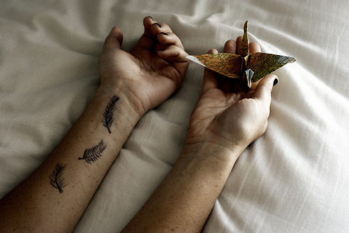 bird, girl, hands, origami, tattoo, vintage
