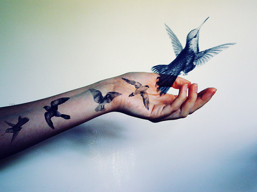 birds, fly, tattoo