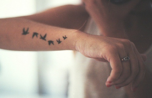 birds, hand, tattoo