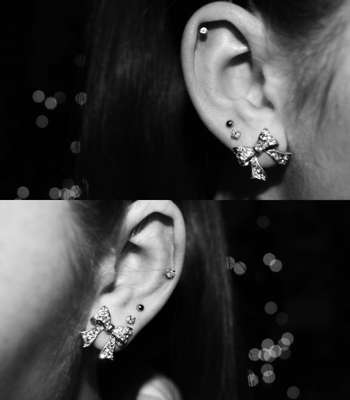 black and white, bokeh, bows, cartilage piercing, ear, ear piercing, earrings, helix, helix piercing, piercings, studs