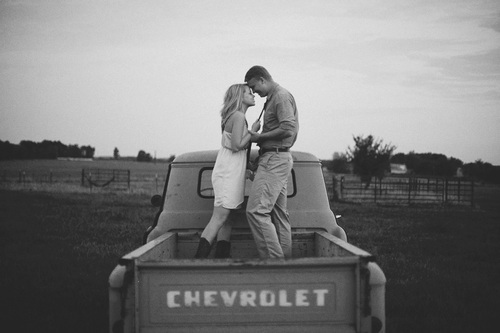 black and white, boy, car, chevrolet, couple, cute, girl, happy, kiss, pretty