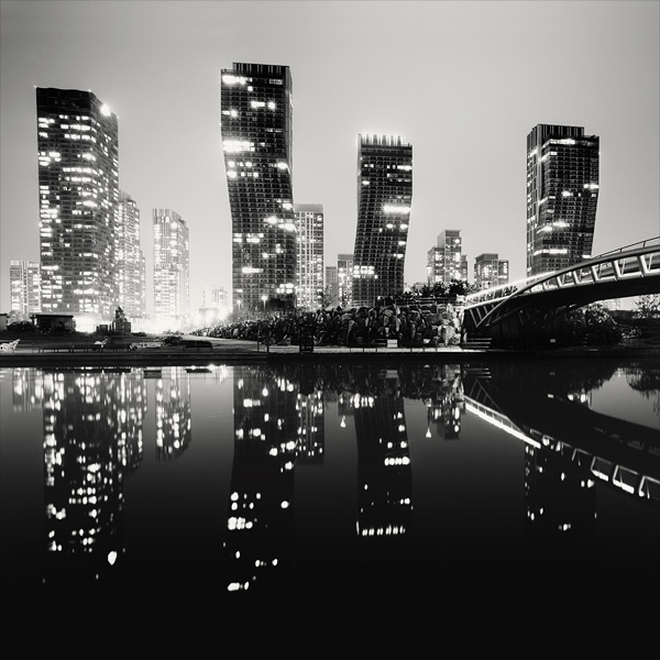 black and white, bridge, city, light, night, skyscraper, water