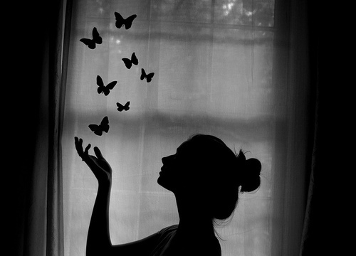 black and white, butterflies, girl