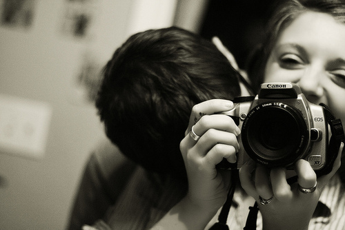 black and white, camera, casal, couple, friends
