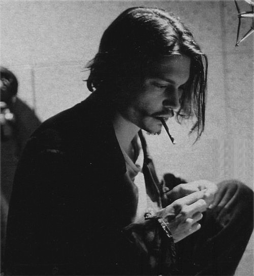 black and white, cigarette, hot, johnny depp, sexy, smoke, young
