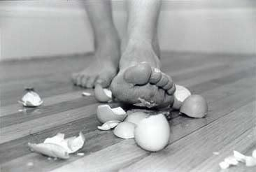 black and white, egg shells, eggshells, feet, life, photography, walking, walking on egg shells