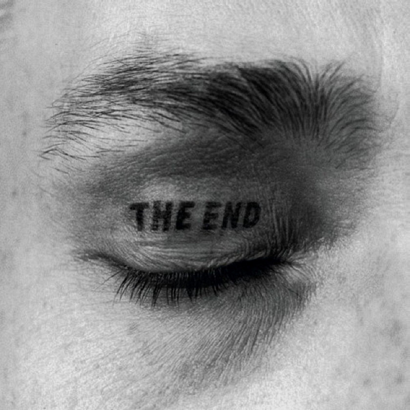 black and white, eye, tattoo, the end
