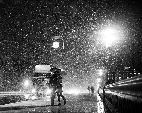 black and white, london, photo, rain, snow