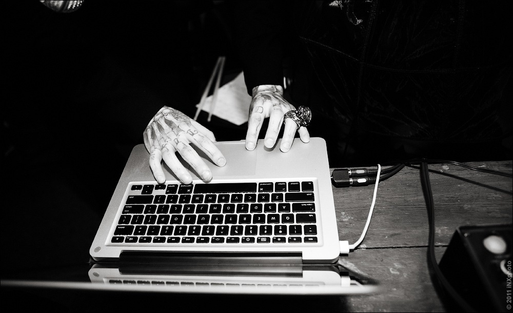 black, black and white, cool, hands, laptop