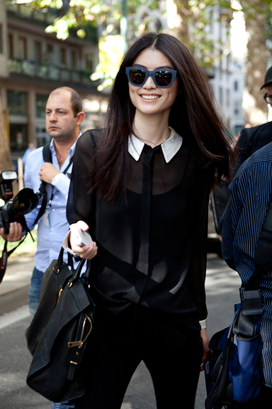 black, black hair, black outfit, blouse, collar