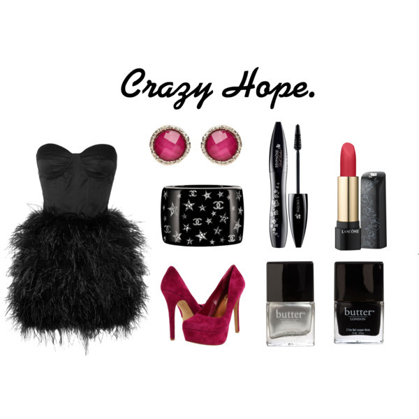 black, bracelet, butter, chanel, dress, earings, fashion, high heels, lipstick