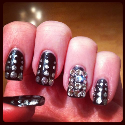 black, diamond, glitter, nail art, nail design
