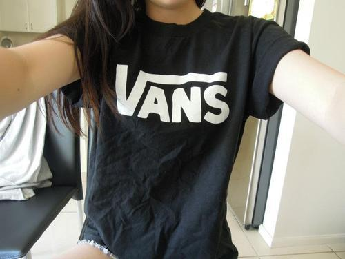 black, girl, shirt, summer, t-shirt, top, vans