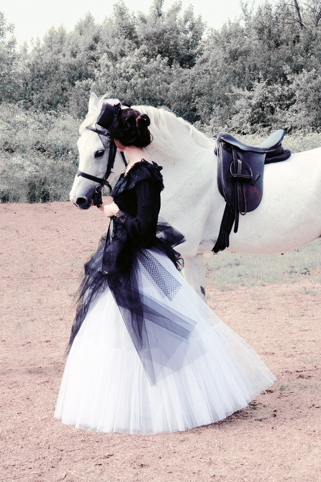 black, fashion photography, horse, model, tulle, urban, vintage, white