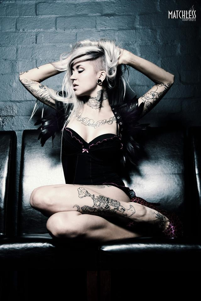 black, inked girls, piercing, sara fabel, sexy