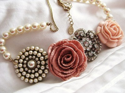 bling, girly, necklace, pearls, pretty, roses