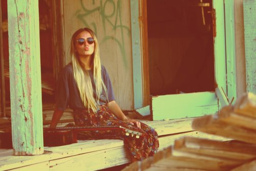 blonde, boho, cute, girl, guitar