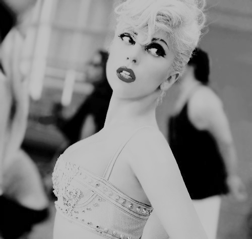blonde, denim, gaga, lady, marry the night, music, rhinestone bra, sexy, video