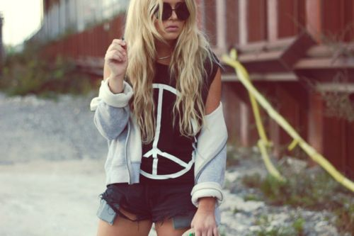 blonde, girl, peace and love, shirt, shorts