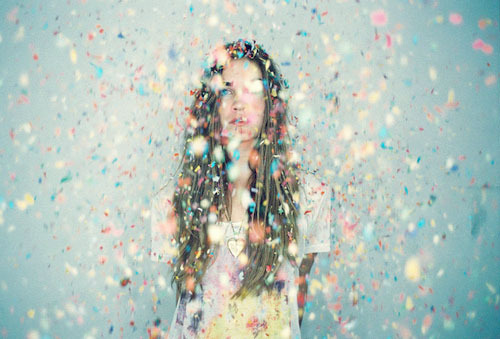 blue, confetti, cute, girl, hair