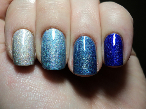 blue, cute, lauren conrad, nails, ombre, ombre nails